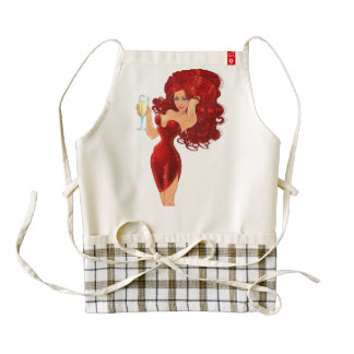 Red Hair Model in Red Party Dress Zazzle HEART Apron