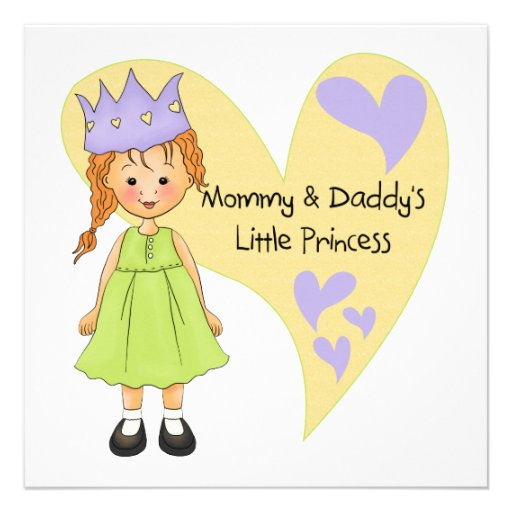 Red Hair Mommy and Daddy's Princess Custom Announcements