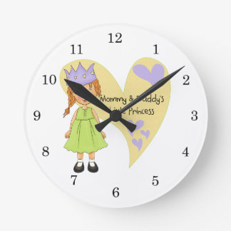 Red Hair Mommy and Daddy's Princess Round Clock