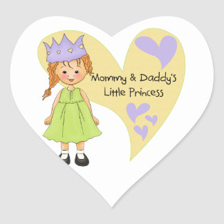 Red Hair Mommy and Daddy's Princess Heart Sticker