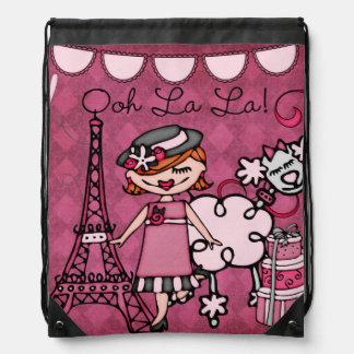 Red Hair Ooh La La Diva Drawstring Backpack Bag
