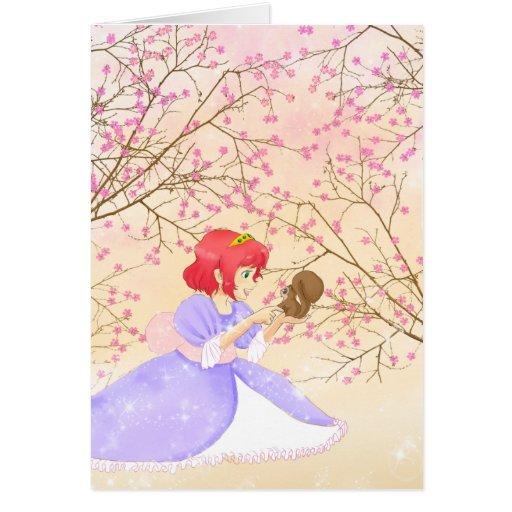 Red hair Princess and squirrel greeting card