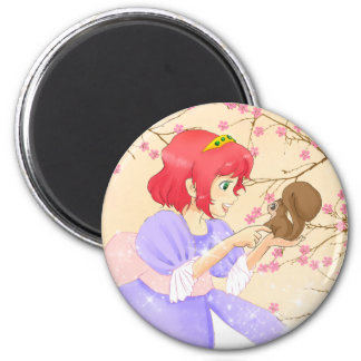 Red hair Princess and squirrel magnet