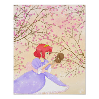 Red hair Princess and squirrel poster