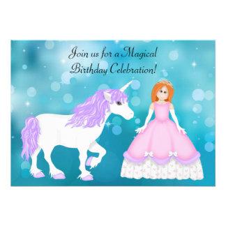Red Hair Princess and Unicorn Birthday Invitation