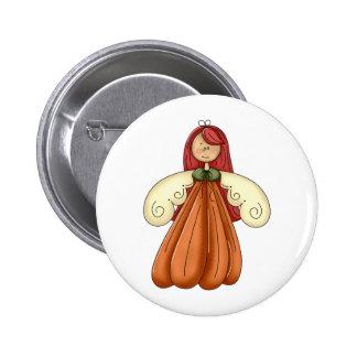 red hair pumpkin angel 2 inch round button
