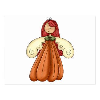 red hair pumpkin angel postcard