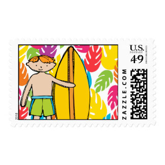 Red Hair Surfer Boy Postage Stamps