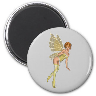 Red Haired 3D Pixie - Yellow Green Outfit Magnet
