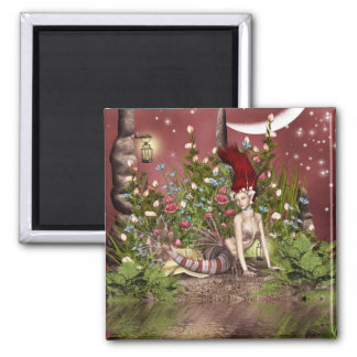 Red Haired Beauty 2 Inch Square Magnet