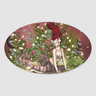 Red Haired Beauty Oval Sticker