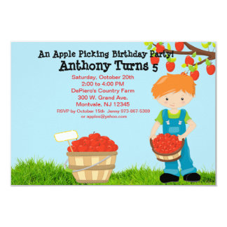 Red Haired Boy Apple Picking Birthday Party Card