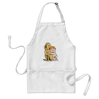 red haired boy with big dog adult apron