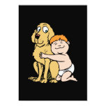 """red haired boy with big dog 5"""" x 7"""" invitation card"""