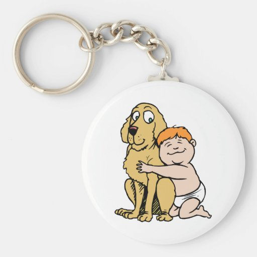 red haired boy with big dog key chains