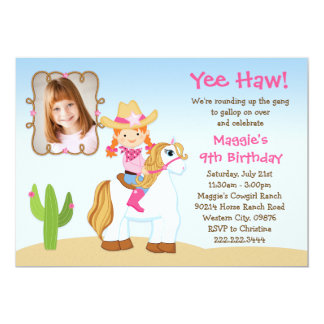 Red Haired Cowgirl Horse Birthday Party Card