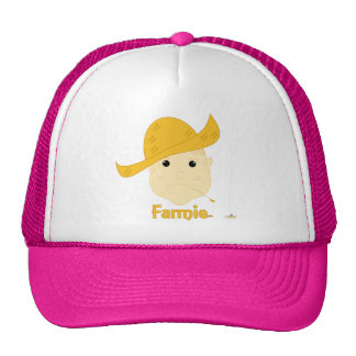 Red Haired Frowning Farmie Face Farmie Mesh Hats