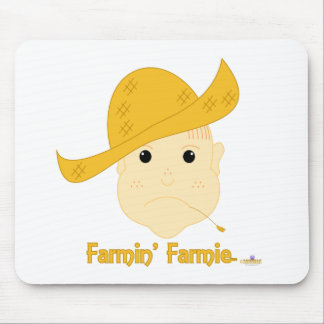Red Haired Frowning Farmie Face Farmin Farmie Mouse Pad