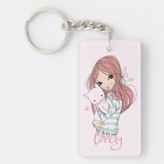 Red Haired Girl and her Little Cat Keychain