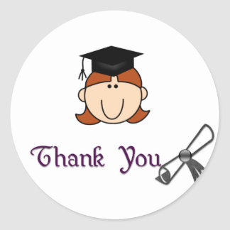 Red Haired Girl Graduation Thank You Stickers