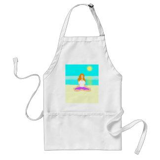 Red haired girl, yoga, om pose, beach, ocean, sun adult apron