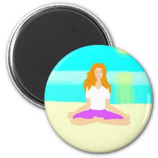Red haired girl, yoga, om pose, beach, ocean, sun magnet