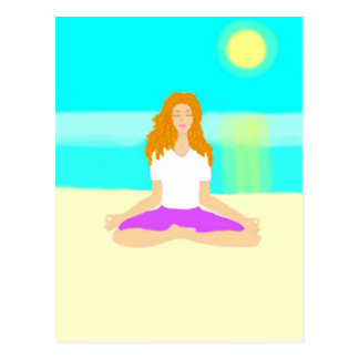 Red haired girl, yoga, om pose, beach, ocean, sun postcard