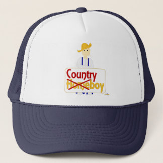 Red Haired Grinning Farmie Blue Pants Country X Ho Trucker Hat