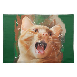Red-haired kitten cloth placemat