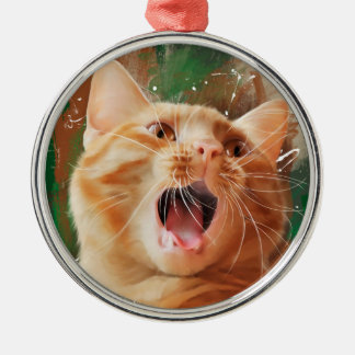 Red-haired kitten metal ornament
