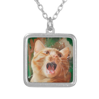 Red-haired kitten silver plated necklace