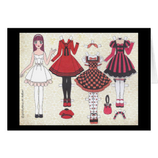 Red-Haired Lolita Paper Doll Blank Card