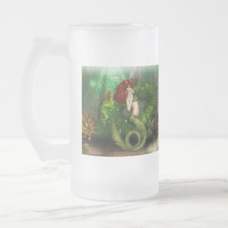 Red Haired Mermaid Frosted Beer Mug