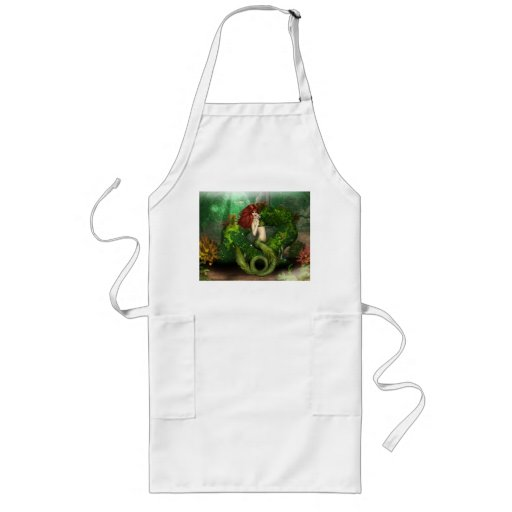 Red Haired Mermaid Long Apron
