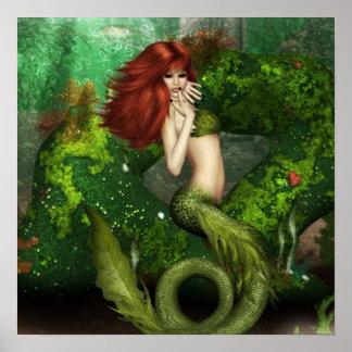 Red Haired Mermaid Print