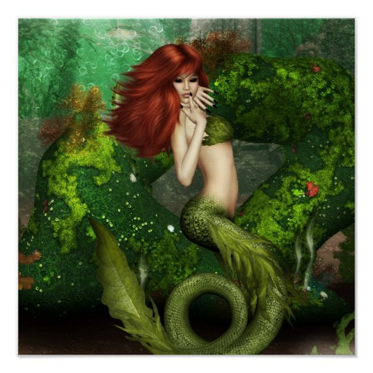 Red Haired Mermaid Print Zazzle Com