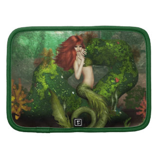 Red Haired Mermaid  Wallet Folio Folio Planner