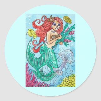 red haired mermaid with flowers classic round sticker