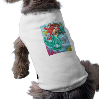 red haired mermaid with flowers shirt