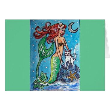 Beach Themed RED HAIRED MERMAID WITH HER WHITE CAT CARD