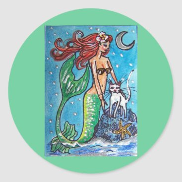 Beach Themed RED HAIRED MERMAID WITH HER WHITE CAT CLASSIC ROUND STICKER