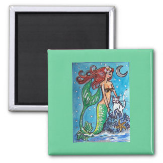 RED HAIRED MERMAID WITH HER WHITE CAT REFRIGERATOR MAGNETS