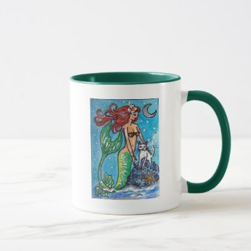 Beach Themed RED HAIRED MERMAID WITH HER WHITE CAT MUG