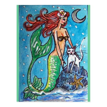 Beach Themed RED HAIRED MERMAID WITH HER WHITE CAT POSTCARD