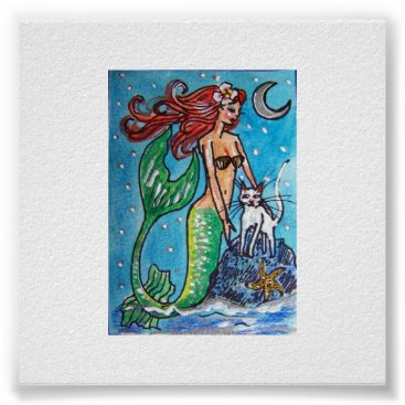 Beach Themed RED HAIRED MERMAID WITH HER WHITE CAT POSTER