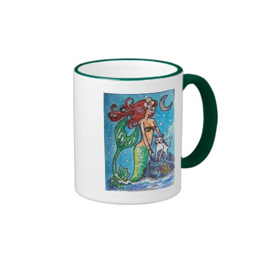 RED HAIRED MERMAID WITH HER WHITE CAT RINGER COFFEE MUG