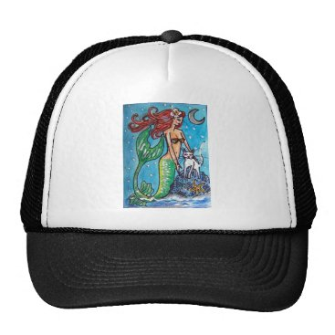 Beach Themed RED HAIRED MERMAID WITH HER WHITE CAT TRUCKER HAT
