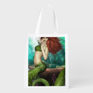 Red Haired Mermaid Market Tote