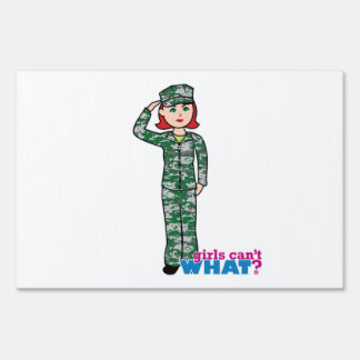Red Haired Military Girl in Camo Lawn Sign