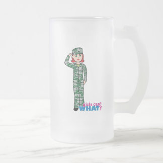 Red Haired Military Girl in Camo 16 Oz Frosted Glass Beer Mug